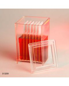 Slide Staining Jar with Lid, PMP, for 8 slides (16 back-to-back), Hellendhal Type Item# 513209