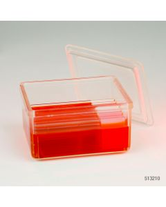 Slide Staining Jar with Lid, PMP, for 10 slides (20 back-to-back), Schifferdecker Type Item# 513210