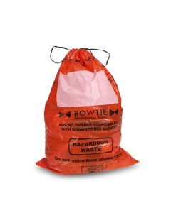 Drawstring biohazard bags. HDPE, 12-16 gallon capacity (45-60 liters), 25 x 35in. (64 x 89cm), large marking area and sterilization indicator