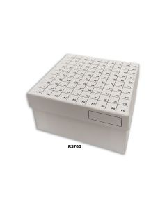 Flip top,  hinged lid cardboard freezer boxes with dividers, 100-place (10 x 10), white
