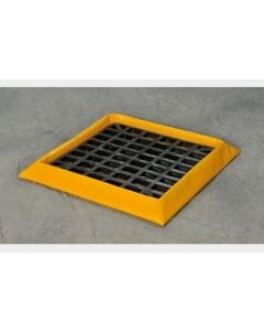 SpillNEST™ with Grating - Temporary, soft sided spill containment for drums. Feature foam sidewalls spring back into place after pressure is applied. Comes with classic black HDPE grating